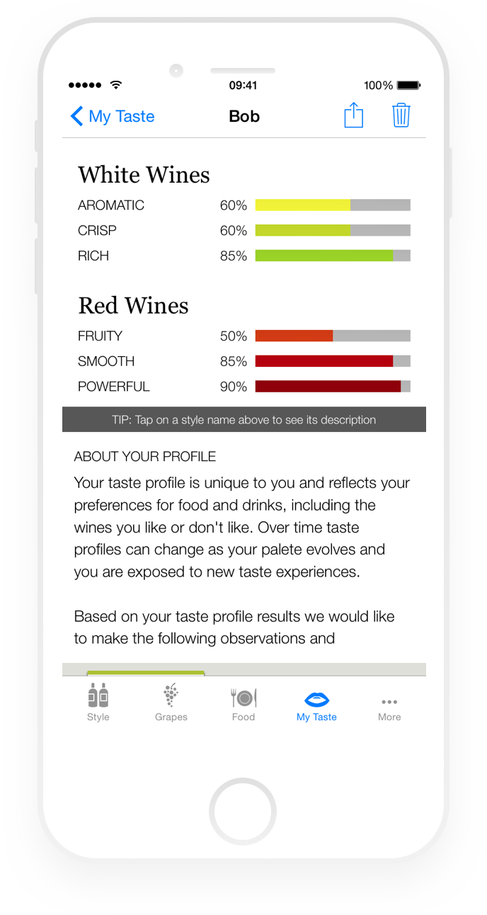 Iphone taste profile