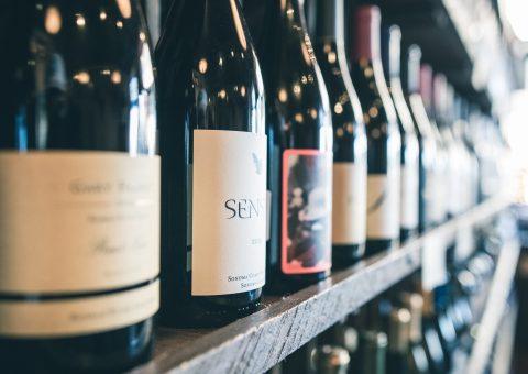 Wine bottles close up